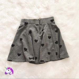 H&M Grey Heart Print Skater Skirt - 4 for $20!